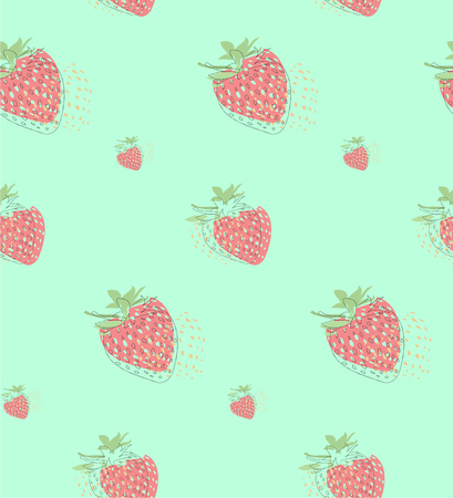 seamless vector strawberry pattern, pale colors Illustration