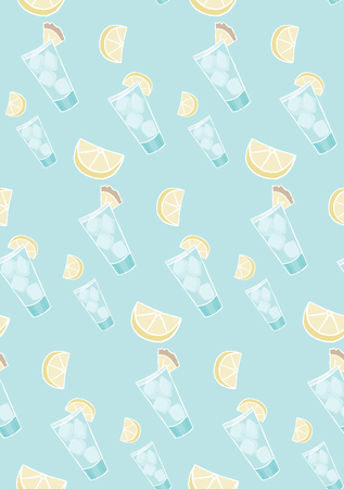 handdrawn summer drink with ice cubes and lemon seamless vector background