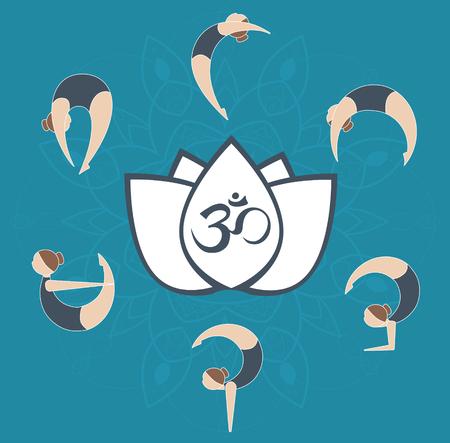 flat yoga postures around aum symbol on white lotus over mandala. Yoga flow, energy concept