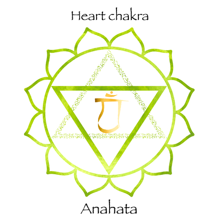 sanskrit: forth chakra anahata on green watercolor background. Yoga icon, healthy lifestyle concept. vector illustration