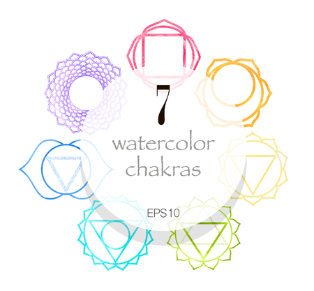 Seven watercolor shakras set. Yoga, meditation, retreat concept. Vector illustration