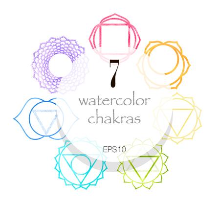 Zeven aquarel shakras set. Yoga, meditatie, retraite concept. Vector illustratie