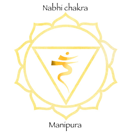 Third chakra manipura over yellow watercolor background. Yoga icon, healthy lifestyle concept. Vector illustration