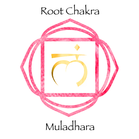muladhara: Muladhara chakra on red watercolor background. Yoga mantra, energy concept. Vector illustration Illustration