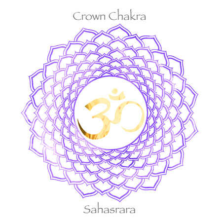 seventh crown chakra Sahasrara on purple watercolor background. Yoga icon, healthy lifestyle concept. vector illustration