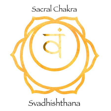 Svadhisthana chakra on orange watercolor background. Yoga mantra, energy concept. Vector illustration