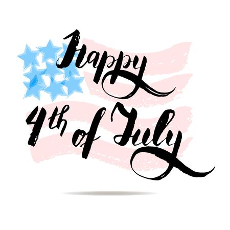memory card: Happy 4th of july vector lettering on USA flag.