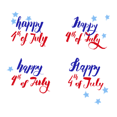 Happy 4th of july vector lettering in four grunge types.