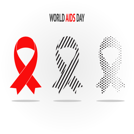 Set of tree flat red AIDS awareness ribbons with different pattern. Canser, men's health concept. Text space Ilustração