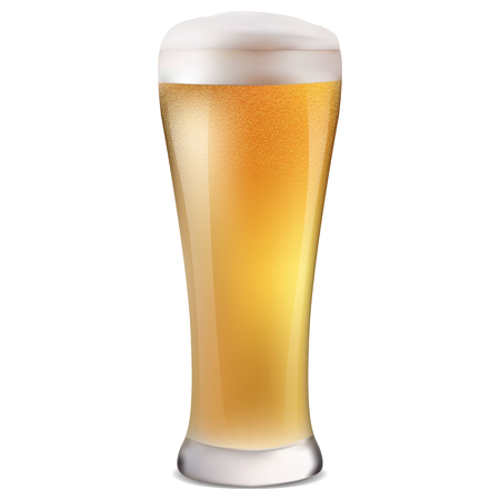 realistico bicchiere di birra chiara fredda con bolle e illustrazione vettoriale isolato schiuma