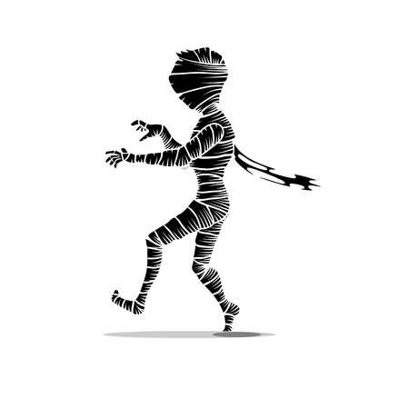 walking black and white mummy character isolated on white. Halloween concept vector illustration