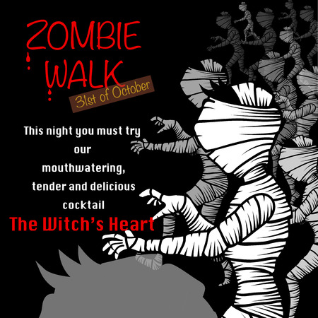 walking black and white mummy character  Halloween invitation. Zombie walk concept. vector illustration