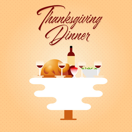 Thanksgiving dinner with home made dishes on table flat vector illustration. Turkey, vine, potato and cranberry sauce. Retro style family holiday. Text space