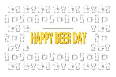 Happy beer day 3D lettering on background with black and white outline beer mugs. National celebration. Creative card template