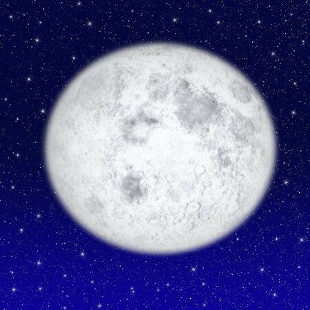 Beautiful full moon on starry sky Stock Photo