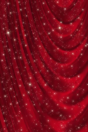 starlit: Beautiful red drapery valentine background with stars and little hearts Stock Photo