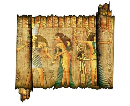 papyrus: Old roll of egyptian papyrus isolated on white