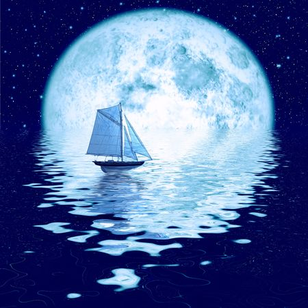 Beautiful full moon under ocean with sailing ship Stock Photo