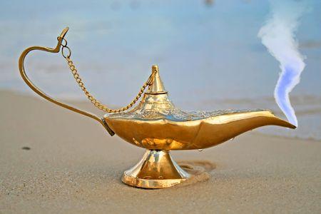 genies lamp on seashore