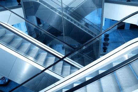 Escalators in business centre photo