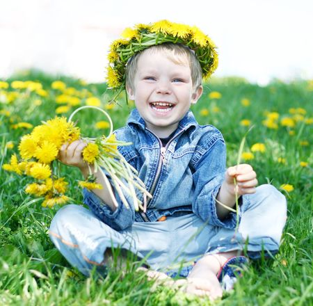 Happy kid with diadem and dandelions on green grass Stock Photo - 4565732
