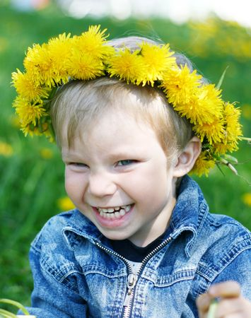 Happy kid with diadem Stock Photo - 4565746