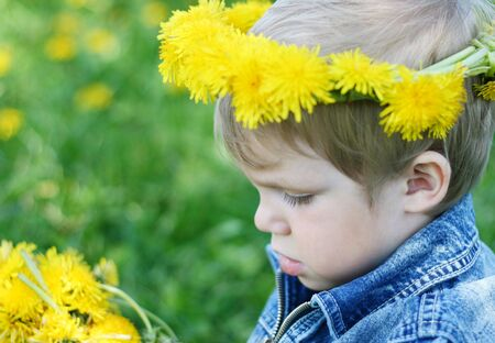 Portrait of pretty little boy with diadem Stock Photo - 4565729