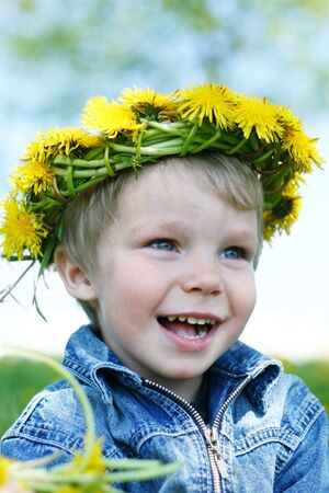 Happy little boy with diadem Stock Photo - 4565749