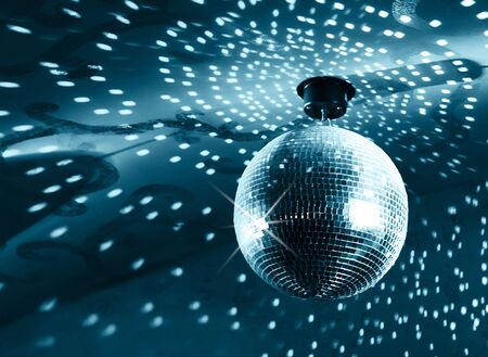 Shiny disco ball on nightclub Stock Photo