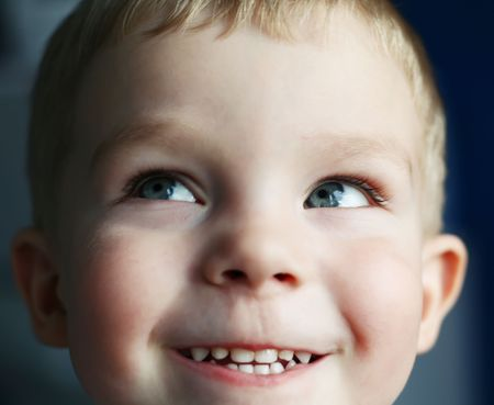 Very funny little kid look up Stock Photo - 4582812