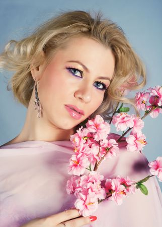 Portrait of beautyful woman with flower Stock Photo - 4582874