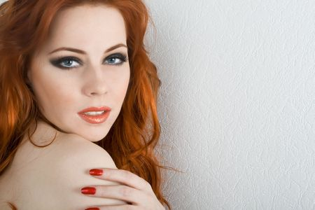 Beautiful redhead young woman with blue eyes Stock Photo - 4605243