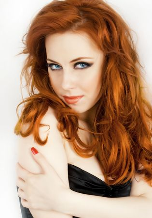 Sexy redhead beautiful woman with blue eyes isolated on white Stock Photo