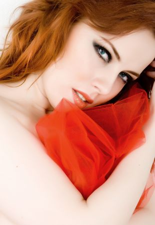 Beautiful woman with red hair and blue eyes Stock Photo - 4685624
