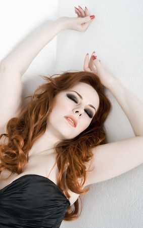 Beautiful sexy woman with red hair photo