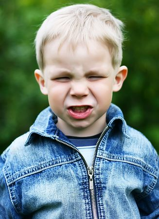 disinclination: Naughty little boy play up Stock Photo