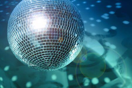 glitter ball: Shiny disco ball on night club close up Stock Photo