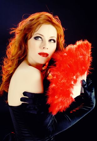 Chik redhead woman with scarlet fan photo