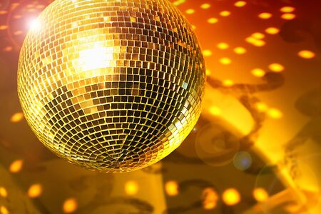 Shiny disco ball on night club close up Stock Photo