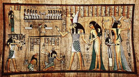egyptian woman: Ancient egyptian papyrus with pharaoh