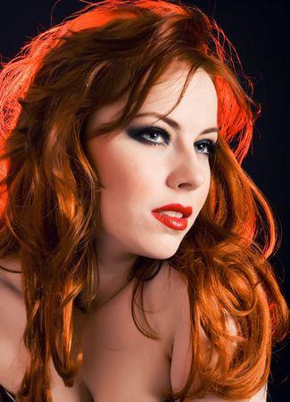 Beautiful redhead woman portrait close up Stock Photo - 4982618