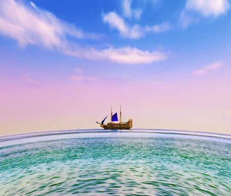 Yacht with blue sail in open sea Stock Photo - 5049848