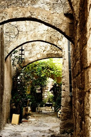 Medieval street in Old city of Rhodes island. Greece Stock Photo