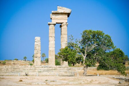 Temple of Appolon in Acropolis of Rhodes island, Greece photo