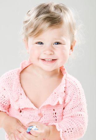 Portrait of happy little girl photo