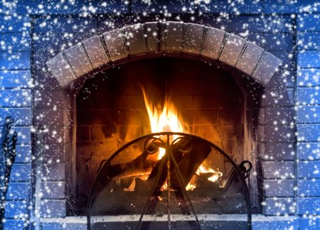 Beautiful fireplace in cold winter day photo