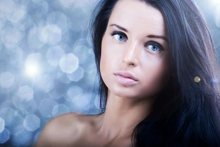 Beautiful glitter girl with perfect black hair Stock Photo