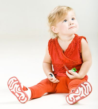 Portrait of beautiful baby in red dress Stock Photo - 5749031