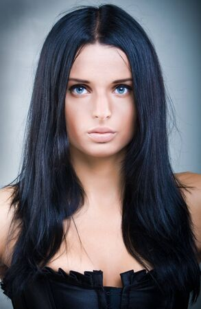 full lips: Beautiful young woman with mystical eyes and full lips
