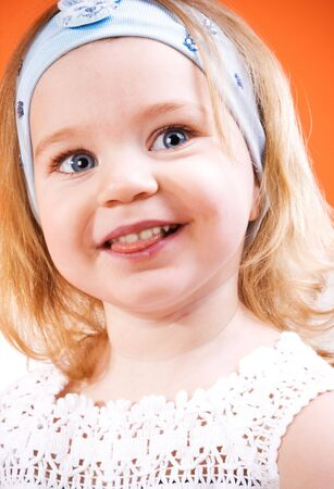 Portrait of beautiful happy little girl Stock Photo - 6665750